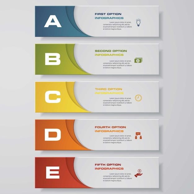 5 steps infographics element chart. Premium Vector
