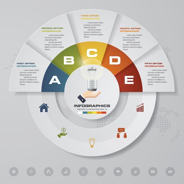 5 steps infographics element for presentation. Premium Vector