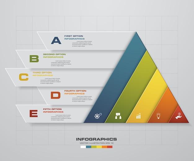 5 steps of presentation infografics template Premium Vector