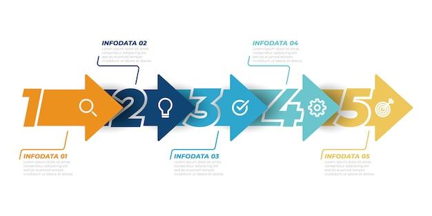 タイムラインインフォグラフィックデザインベクトル矢印テンプレート。 5つのステップ、オプションのビジネスコンセプト。ワークフローのレイアウト、図、情報グラフ、webデザインに使用できます。 Premiumベクター