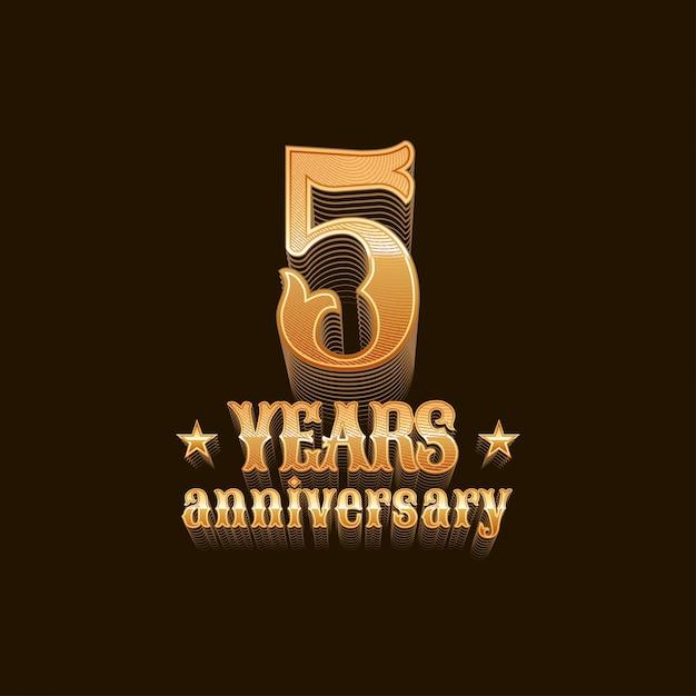 5 лет. 5-й день рождения, знак в золоте Premium векторы