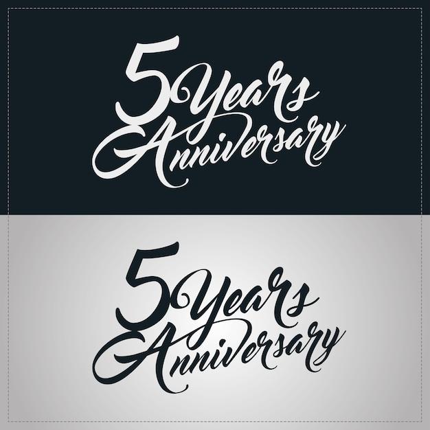 5 years anniversary celebration logotype Premium Vector