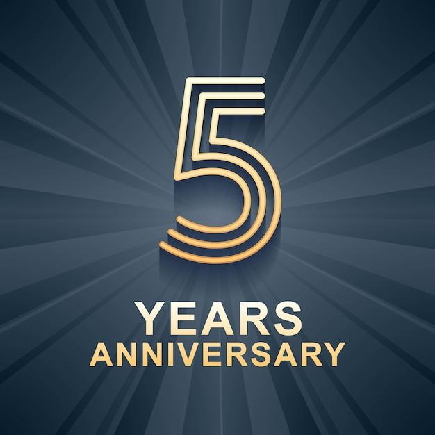 5 лет юбилей празднования вектор значок, логотип. элемент дизайна шаблона с золотым веком для 5-й годовщины карты Premium векторы