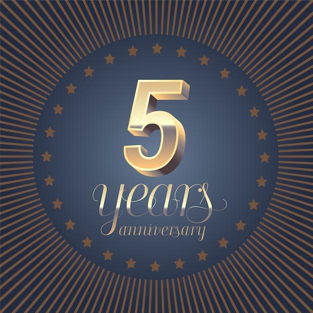 Надпись на годовщину 5 лет. 3d номер к 5-летию. Premium векторы