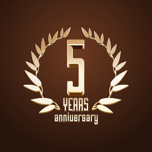 5 years anniversary Premium Vector