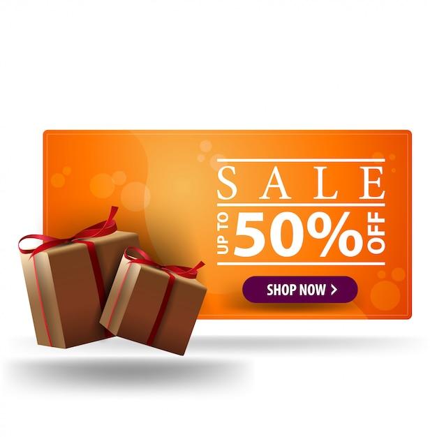 販売、最大50%オフ、白で隔離のギフトボックスとオレンジの3 d割引バナー Premiumベクター