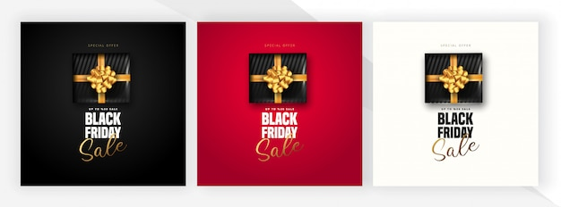50% discount offer for black friday sale lettering, black gift box around on 3 different color . can be used as poster,banner or template . Premium Vector