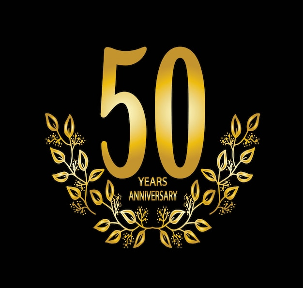50 year anniversary celebration card - vector Premium Vector