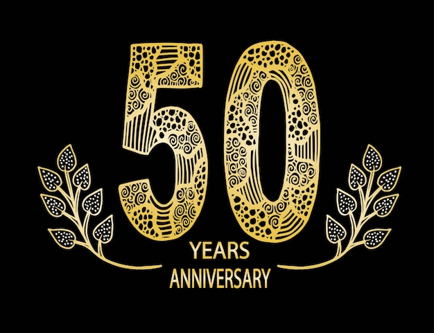 50 year anniversary celebration card Premium Vector