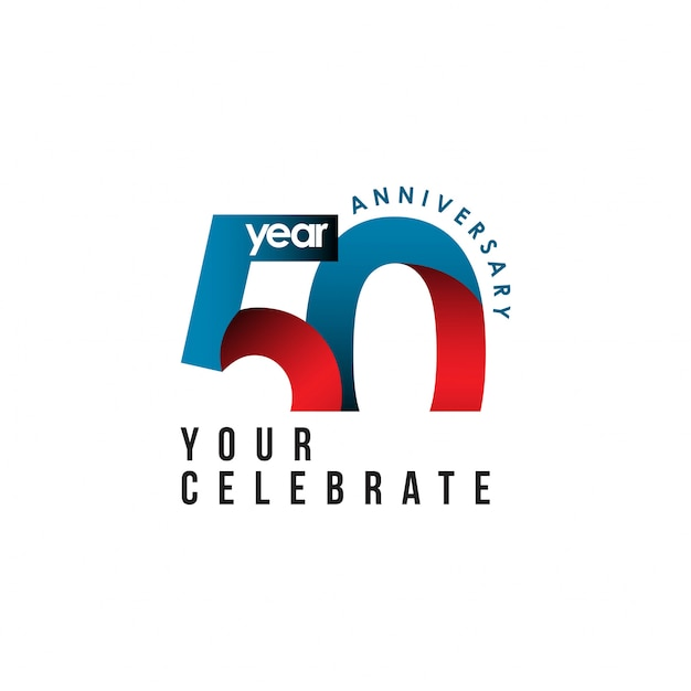 50 year anniversary vector template design illustration Premium Vector