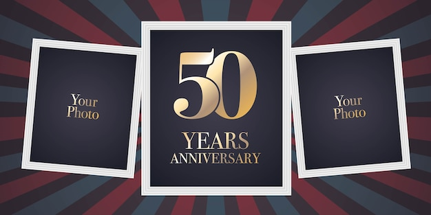 50 years anniversary vector icon, logo. template design element, greeting card with collage of photo frames for 50th anniversary Premium Vector