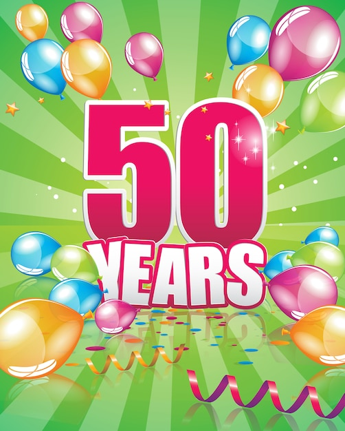 50 years birthday card Premium Vector