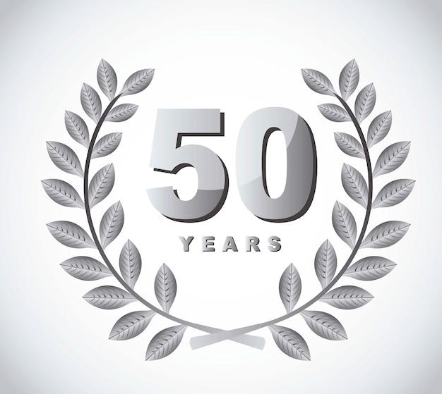 50 years with laurel wreath over gray background vector Premium Vector