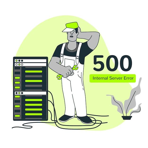 500 внутренняя ошибка сервера иллюстрации концепции Бесплатные векторы