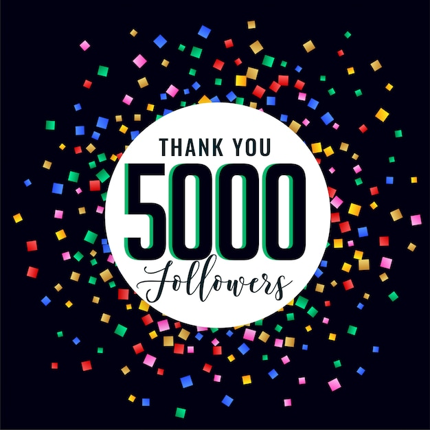 5000 social medial followers thank you post Free Vector