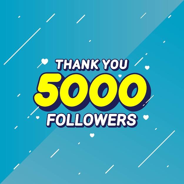 5000人のフォロワーおめでとうバナーありがとう Premiumベクター