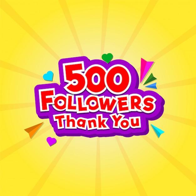 小さなハートを持つ500人のフォロワーのためのありがとうメッセージ Premiumベクター