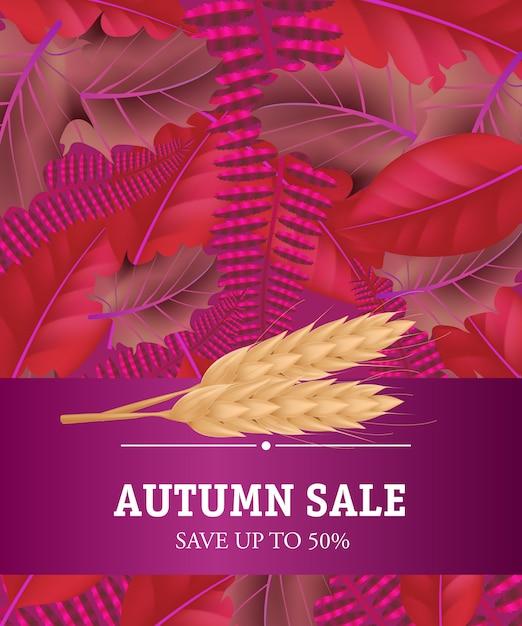 秋の販売小麦の工場で最大50パーセントの文字を保存します。現代の創造的な碑文 無料ベクター