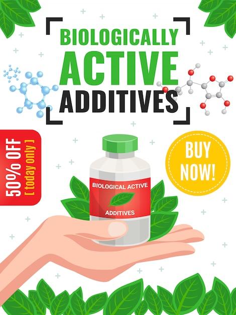 Рекламный плакат о биологически активных добавках с 50-процентной скидкой и изображением мультфильма с зелеными листьями Бесплатные векторы