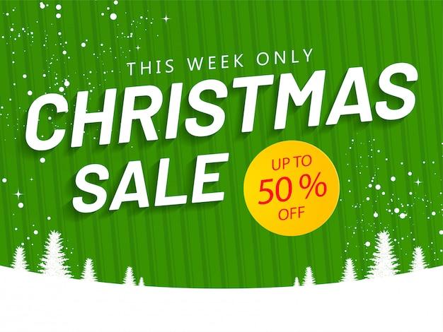 Рождественская распродажа баннер или плакат с 50% скидкой и елки на зеленый полосатый рисунок и снежная. Premium векторы