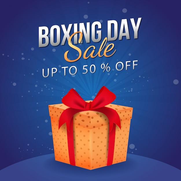 ボクシングデーセールの最大50%オフ、ギフトボックス付きの広告バナー。 Premiumベクター