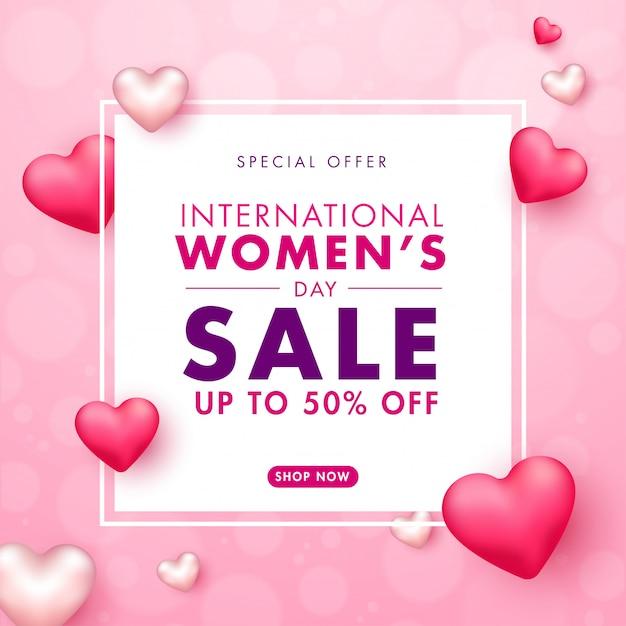 Дизайн плаката международного женского дня распродажи с 50% скидкой и глянцевыми сердцами на розовом размытом фоне. Premium векторы