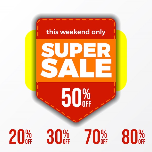 今週末のスーパーセールのバナーは最大50%割引 Premiumベクター