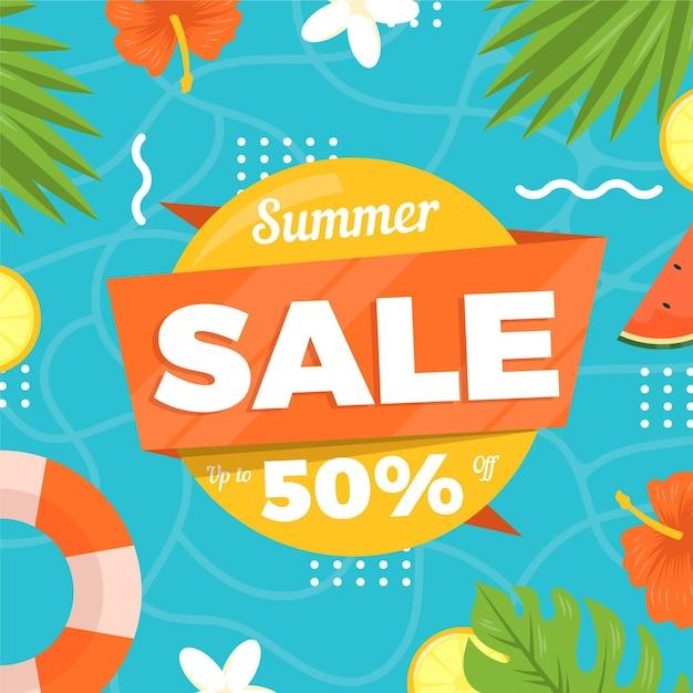 Летняя распродажа плоского дизайна 50% Бесплатные векторы