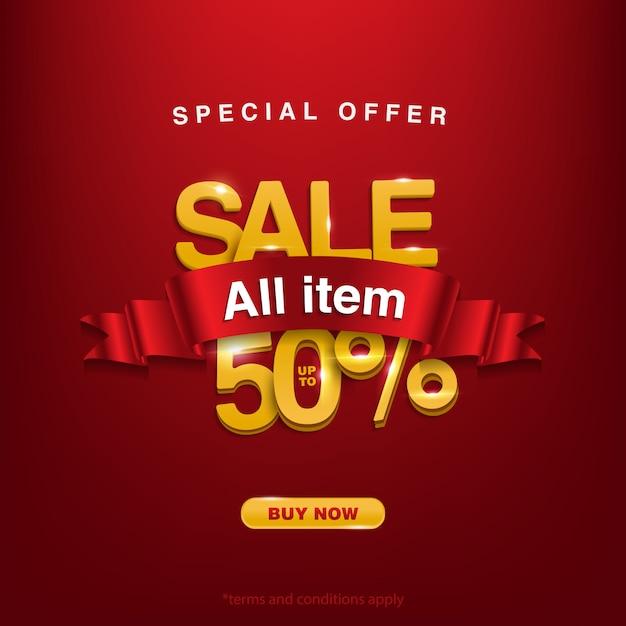 半額、スペシャルオファーセール50%までのすべてのアイテム、今すぐ購入 Premiumベクター