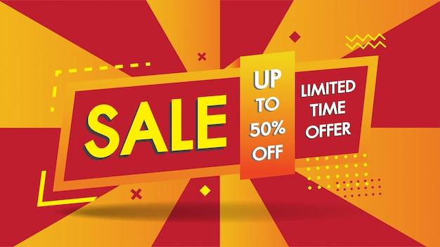 Продажа баннеров шаблон геометрического абстрактного дизайна формы со скидкой 50% большой продажи Premium векторы