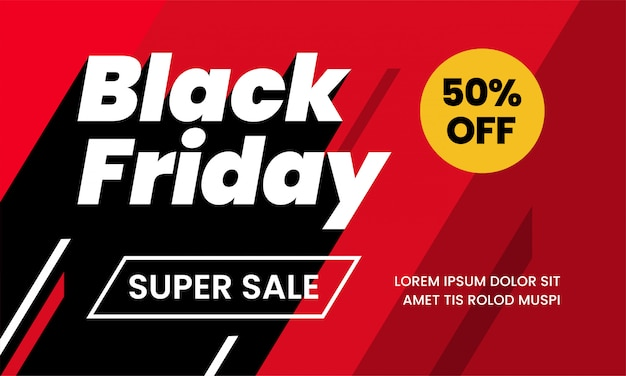 ブラックフライデースーパーセール50%バナーテンプレート Premiumベクター