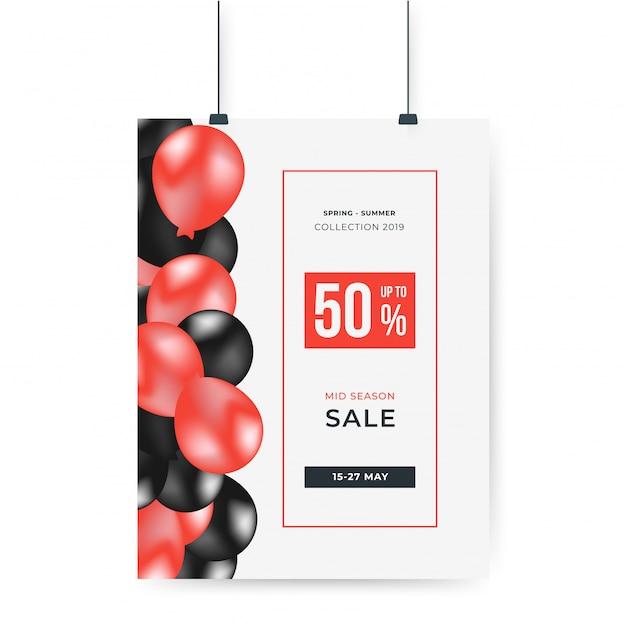 赤と黒の風船で50%オフ大セール特別ポスターキャンペーン Premiumベクター