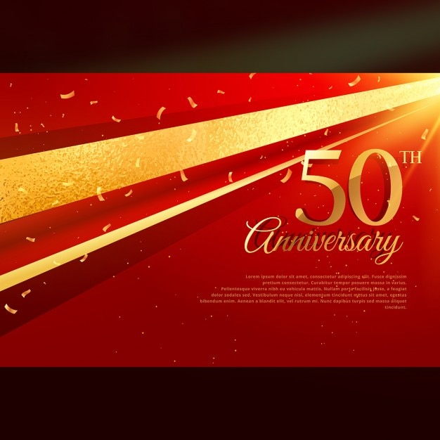50th anniversary luxury red background Free Vector