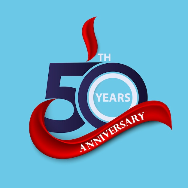 50th anniversary sign and logo celebration symbol with red ribbon Premium Vector