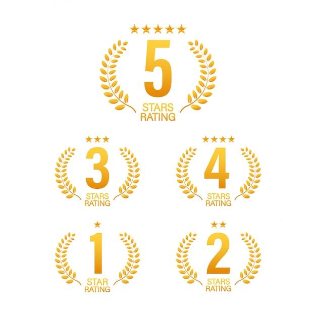 5 звезд. значок с иконами на белом фоне. иллюстрации. Premium векторы