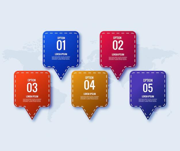 Инфографический шаблон дизайна креативная концепция с 5 шагами Бесплатные векторы