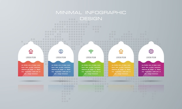 Инфографический шаблон с 5 вариантами Premium векторы