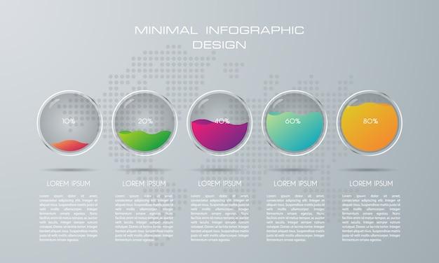 5つのオプション、ワークフロー、プロセスチャートを持つインフォグラフィックテンプレート Premiumベクター