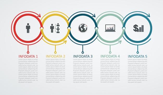 5ステップ構造上向きの矢印とインフォグラフィックデザインテンプレート。ビジネス成功の概念、円グラフの線。 Premiumベクター