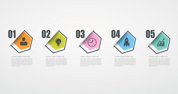 5ステップ構造を持つインフォグラフィックデザインテンプレート。ビジネス成功の概念、六角形のグラフ線。 Premiumベクター