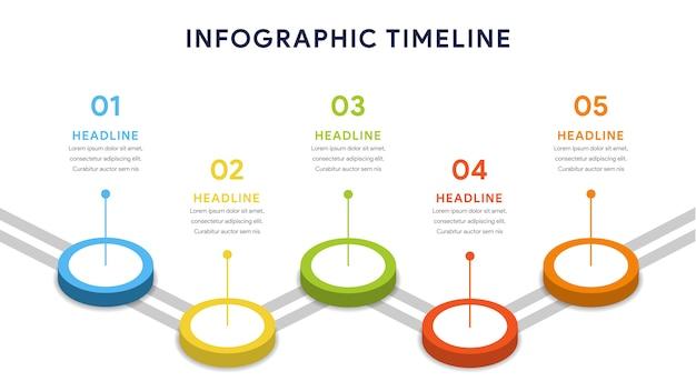 ステップ、タイムライン、ワークフロー用の5つのオプションのインフォグラフィック Premiumベクター