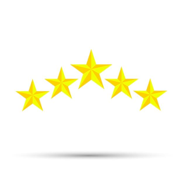 星のアイコンベクトルデザイン白い背景の上の5つの要素 Premiumベクター