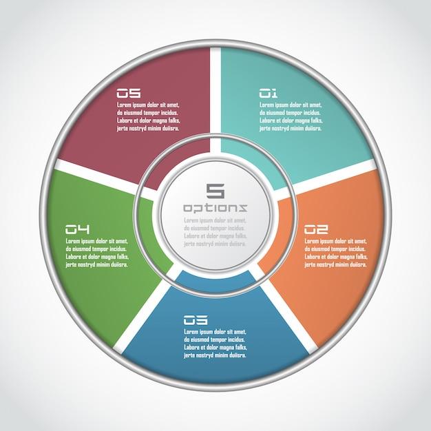 細い線のフラットスタイルのインフォグラフィックサークル。 5オプション、部品、手順のビジネスプレゼンテーションテンプレート。サイクル図、グラフ、円グラフに使用できます Premiumベクター