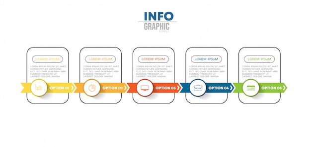 Инфографики элемент с иконками и 5 вариантов или шагов. Premium векторы
