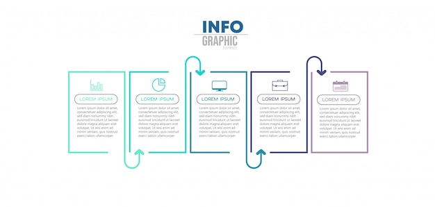 アイコンと5つのオプションまたは手順を持つインフォグラフィック要素 Premiumベクター