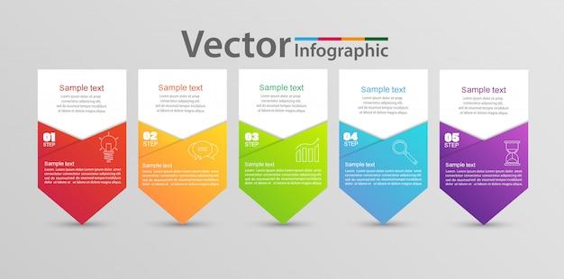 5つのステップとオプションを備えたインフォグラフィックテンプレート Premiumベクター