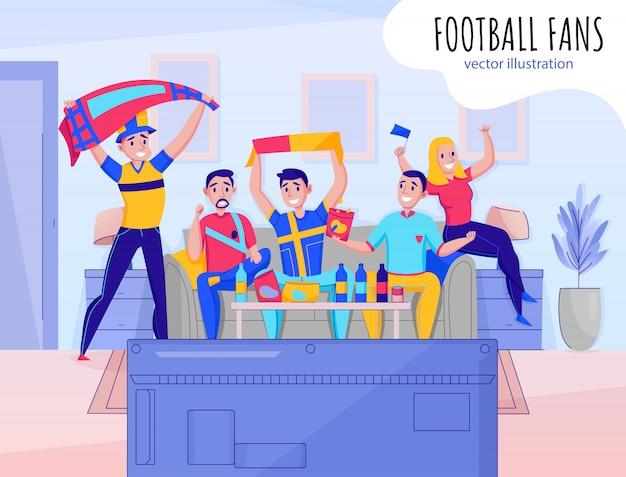 お気に入りのスポーツチームのイラストを応援する5人のチーム構成を応援するファン 無料ベクター