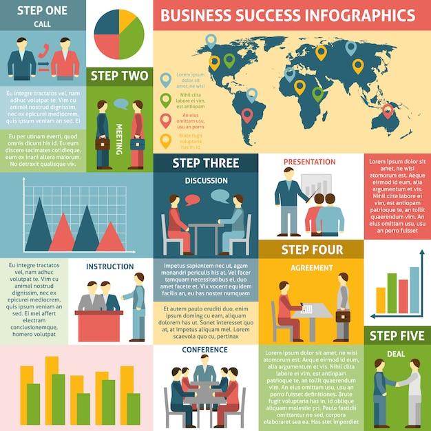 成功ビジネスのためのインフォグラフィック5つのステップ 無料ベクター