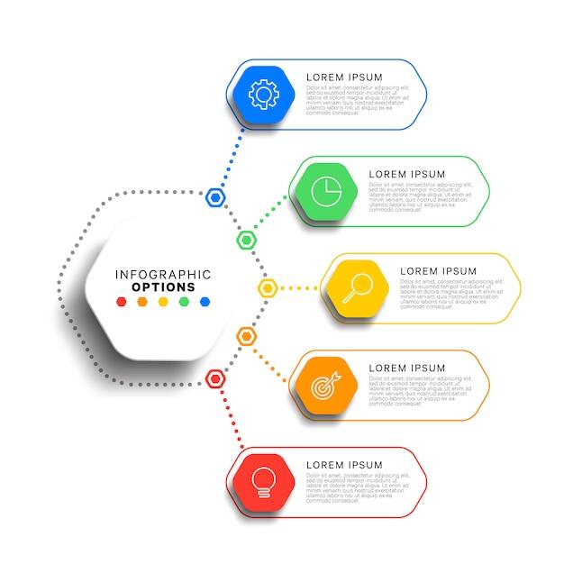 現実的な六角形の要素を持つ5つのステップのインフォグラフィックテンプレート。ビジネスプロセス図。会社プレゼンテーションスライドテンプレート。 Premiumベクター