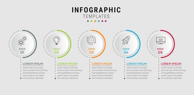 ビジネスインフォグラフィックテンプレート。番号5のオプションまたはステップを備えた細い線のデザイン。 Premiumベクター
